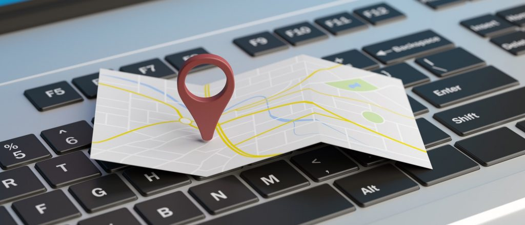 Map pointer location on a laptop. 3d illustration