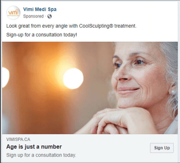 Facebook Ad for Vimi Laser & Skincare Clinic