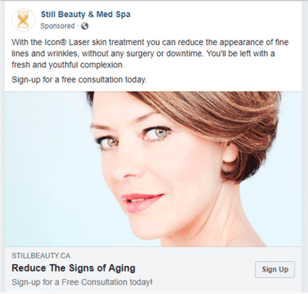 Facebook Ad for Still Beauty & Med Spa