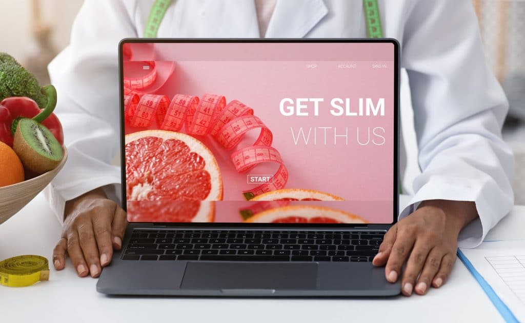 African American female doctor showing laptop with weight loss program offer on screen, collage