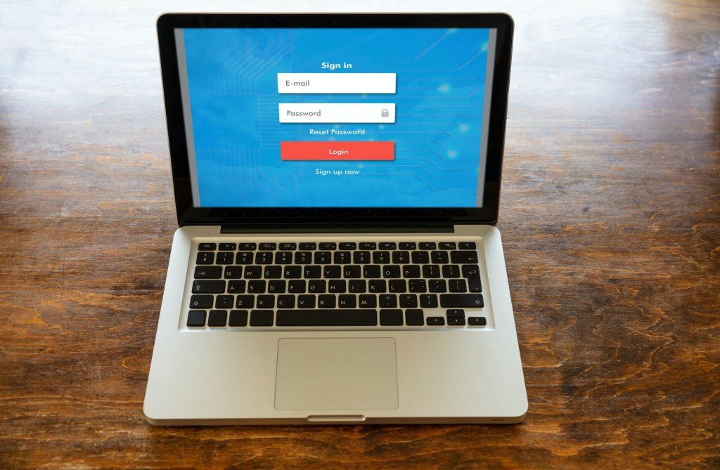 Login password on a laptop screen. Internet security concept.